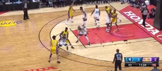 LA Lakers rookie Lonzo Ball has his NBA preseason debut on Sept. 30. - Youtube screen capture / ESPN