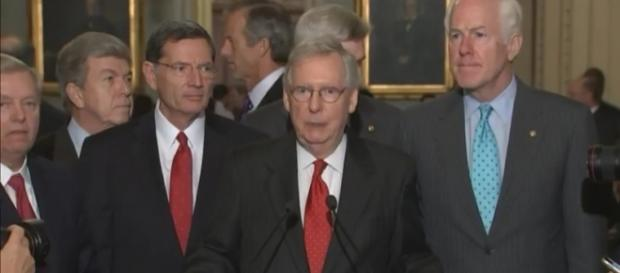 Press briefing with Senate Republicans over Graham-Cassidy repeal failure / [screenshot from PBS Newshour - YouTube:https://youtu.be/zTFoxS4Fyyg