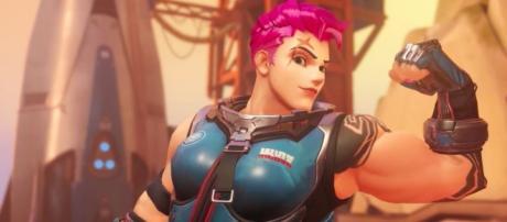 'Overwatch' hero Zarya. [IGN / YouTube screencap]