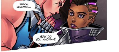 "Zarya revealing Sombra's name. (Image - screencap ""Searching"", Page 10 Panel 3 comic.play overwatch)"