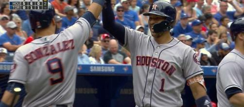 Carlos Correa's performance on Wednesday helped the Astros win 12-2 over the Rangers. [Image via MLB/YouTube]