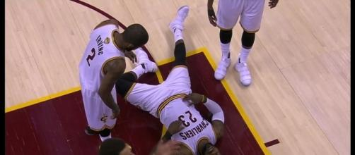 LeBron James injured during Cavs practice. (Image Credit - NBA Highlights/YouTube Screenshot)