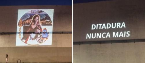 Obras da mostra ''Queermuseu'' e frases de protesto foram projetadas nas fachadas de museus em NY. Foto: Reprodução/Facebook.