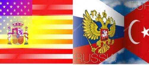 Representação das recentes reuniões EUA-Espanha e Russia-Turquia