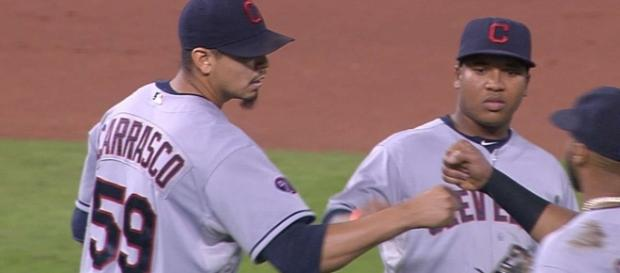 Carlos Carrasco recorded 14 strikeouts in Thursday's win by the Indians over the Twins. [MLB/YouTube screencap]