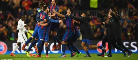 Barcelona 5-1 PSG (agg 6-5). - dailymail.co.uk