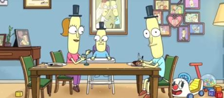 """[Rick and Morty/ YouTube] A screenshot depicting Mr. Poopy Butthole in the final scene of """"Rick and Morty"""" season three."""