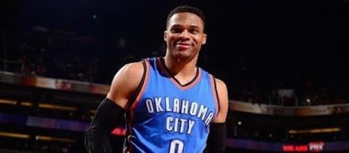 On Friday, NBA MVP Russell Westbrook inked a five-year contract extension with Oklahoma City worth $205 million. [Image Credit: NBA/YouTube]