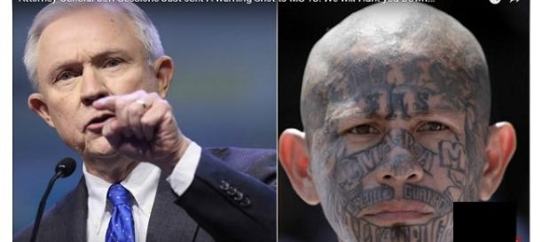 Attorney general Jeff Sessions (left), MS 13 gang member (right) photo via Golden State Times/YouTube screen cap