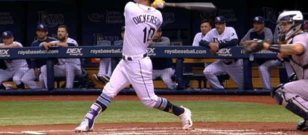 Corey Dickerson blasted his 26th home run of the season in Tampa Bay's 9-6 win over the Yankees on Thursday. [Image via MLB/YouTube]