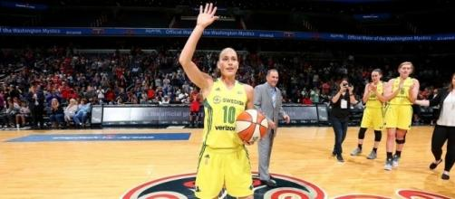 All-Time WNBA assists leader Sue Bird leads the Seattle Storm into their final game before the playoffs on Sunday. [Image via WNBA/YouTube]