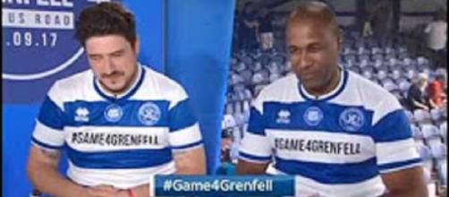Marcus Mumford, here with Les Ferdinand, share a match mixing sport, music, and fun for fire victims and families.Screencap Mumford &Sons Fans/YT