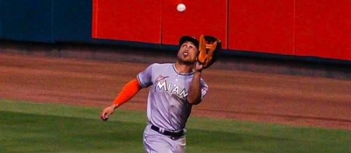 Stanton in action, Wikipedia https://en.wikipedia.org/wiki/Giancarlo_Stanton#/media/File:Giancarlo_Stanton_Catch_2016.jpg