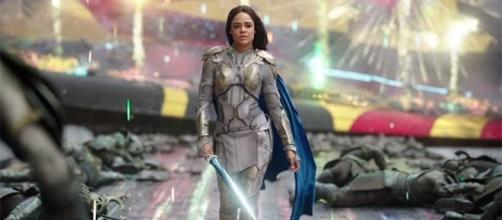 "Tessa Thompson plays a different Valkyrie in Taika Waititi's ""Thor: Ragnarok,"" opening on November 3. (YouTube/Marvel Entertainment)"