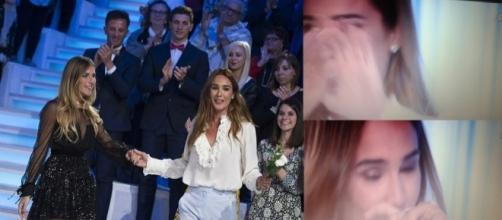 Eleonora Pedron e nel riquadro la commozione di Silvia Toffanin