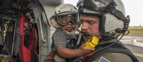 Evacuation of Puerto Rican Refugee Child (Image courtesy of Defense Department)