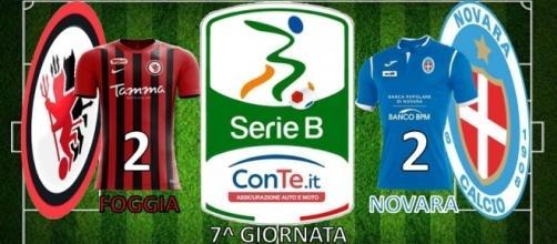 Termina 2-2 tra Foggia e Novara nella settima partita del campionato di Serie B ConTe.it 2017/18