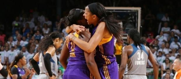 Candace Parker and the L.A. Sparks captured a Game 3 victory to move one win away from a second-straight WNBA title. [Image via WNBA/YouTube]