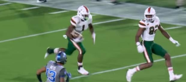 The Hurricanes' Mark Walton had 51 yards rushing and 79 yards receiving in Miami's 31-6 win over Duke. [Image via ACC Digital Network/YouTube]