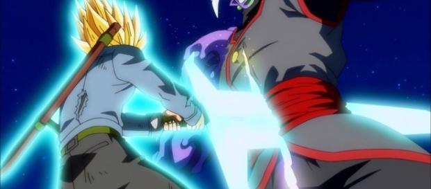 Trunks del futuro atraviesa a la fusión de Zamasu y Black Goku