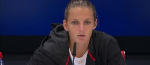 Karolina Pliskova during a press conference at 2017 US Open/ Photo: screenshot via US Open Tennis Championships official channel on YouTube