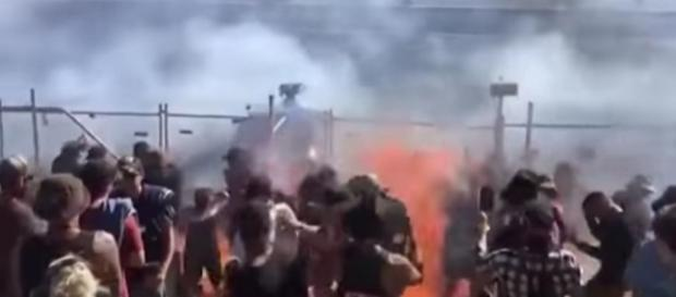 12 spectators were sprayed with burning fuel at an Australian drag racing event [Image: YouTube/HerTelden]