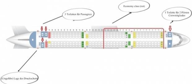 Die Skizze eines Airbus A 320.