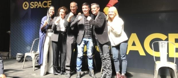 """Parte del elenco de """"El César"""" durante la presentación de la serie."""