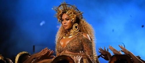 La popstar americana Beyoncé durante un concerto