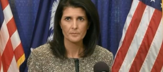 US Ambassador Haley. http://18694-presscdn.pagely.netdna-cdn.com/wp-content/uploads/2017/04/Nikki-Haley-the-U.S.-envoy-to-the-United-Nations.jpg