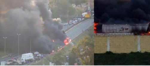 Caminhão descontrolado bate em outros veículos e pega fogo, no Anel Rodoviário de BH (Foto:Reprodução/TV Globo)