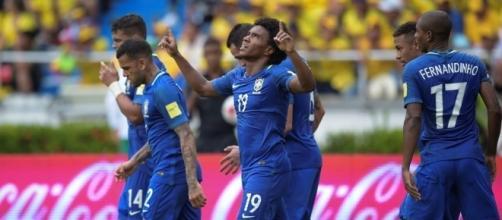 Colombia-Brasile 1-1: Willian festeggia il gol del temporaneo vantaggio della selecao