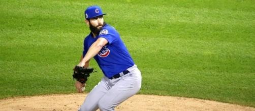 Jake Arrieta in 2016 World Series - Wikimedia Commons