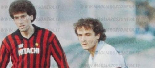 Mauro Tassotti e Vincenzo D'Amico, protagonisti in Lazio-Milan del campionato di serie B 1982/83
