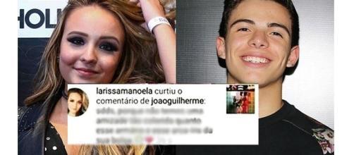 Thomaz Costa parece não ter gostado do comentário de João Guilherme em foto de Larissa Manoela (Fotos: Reprodução/Instagram)
