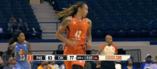 Brittney Griner's double-double helped lead Phoenix to a first-round WNBA Playoffs win over Seattle on Wednesday night. [Image via WNBA/YouTube]