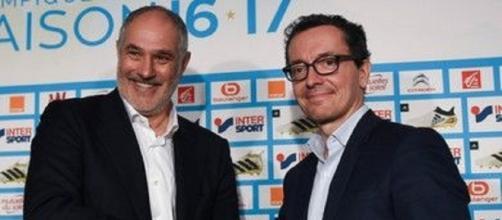 Jacques-Henri Eyraud (à droite) affirme son soutien à Andoni Zubizarreta (à gauche) - Maxifoot.fr