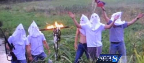 Students are being discliplined for an image involving KKK hoods and a burning cross [Image: YouTube/KCCI]