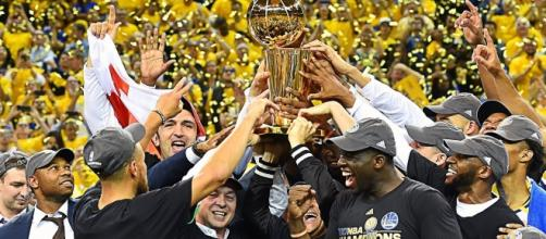 The Golden State Warriors celebrates after winning the 2017 NBA Finals (via YouTube - NBA)