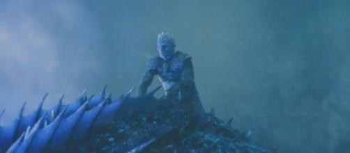 "The Night King riding Viserion / The screenshot taken from Youtube S07E07 of ""Game of Thrones""."