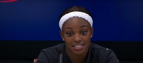 Sloane Stephens during a press conference at 2017 US Open/ Photo: screenshot via E Latifovich channel on YouTube