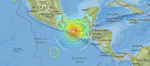 The epicenter of the earthquake, marked by a star, south of Chiapas State, Mexico. / from 'YouTube' screen grab
