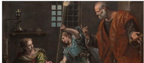 Uno dei dipinti restaurati: Sant'Agata in Prigione visitata da Pietro, Paolo Caliari, 1566