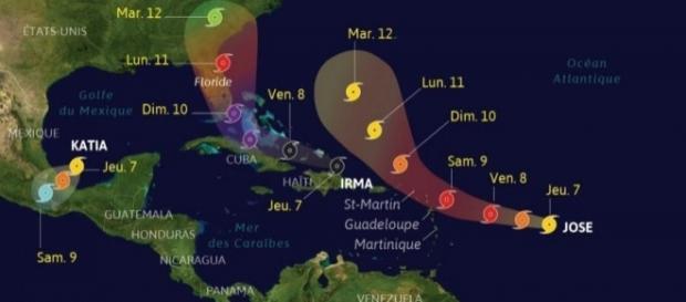 Trois ouragans sévissent actuellement sur la côté Altantique : Irma, Katia et José.