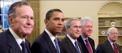 Former Presidents George W. Bush, Barack Obama, George H.W. Bush, Bill Clinton and Jimmy Carter. Photo: Joyce N. Boghosian/Public Domain