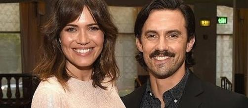 Mandy Moore and Milo Ventimiglia on 'This Is Us.' (Image credit: Golden Globes/YouTube)