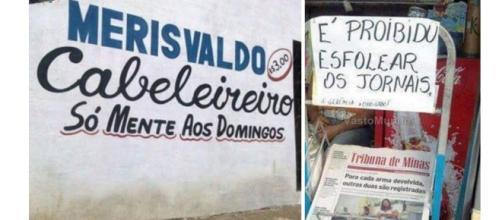 Mensagens escritas com erros de português