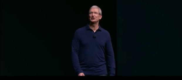 Apple CEO Tim Cook at the Apple 7 event in 2016. (via Engadget/Youtube)