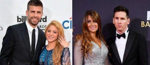 À esquerda, Gerard Piqué e Shakira, à direita, Antonella Roccuzzo e Lionel Messi