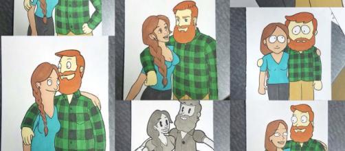 Disegni creati da Kells per la sua fidanzata Linds, che ritraggono la coppia in versione cartone animato